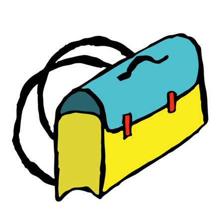 satchel: Cartoon illustration of school satchel Illustration