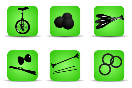 Set of flat icons for different kinds of juggling