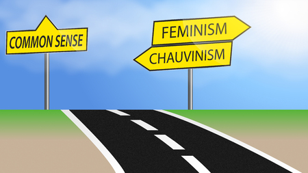 Illustration of heading for feminism and chauvinism or just use common sense Stock Photo