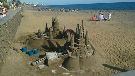 Sand fortress on beach