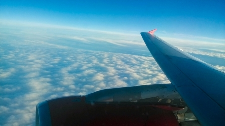 View from air Berlin Airbus on cloudy ground