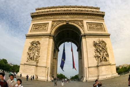 Paris, France, August 26th, 2013 - Shot of Arc of Triumph in Paris by wide lens fisheye Editorial