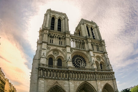 Front side of Notre dame cathedral after sunset shot