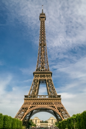 Front view on Eiffel Tower in Paris, France Stock Photo
