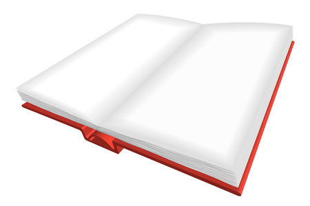 angled view: Opened book with red cover and empty  pages Illustration