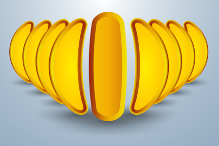 relic: Abstract concept of banana like formation of tubs reflecting yellow color Illustration