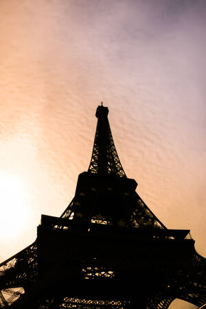 Silhouette of Eiffel Tower in Paris during sunset, France