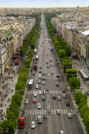 View on Champs-Elysees avenue frop top of Arch of Triumph, Paris France