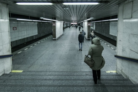 People wait on subway station for train in cold day. Prague, Czech Republic Stock Photo