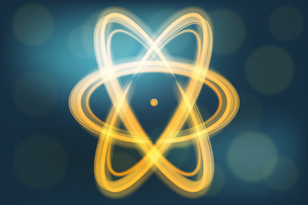negatively: Vector illustration of single atom with flame-like electron traces Stock Photo