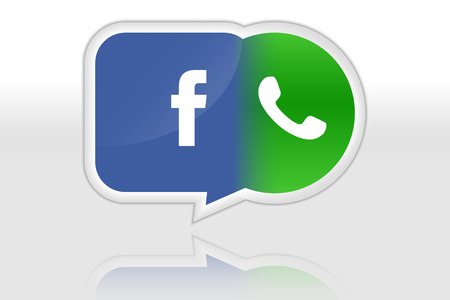 billion: Facebook buys Whatsapp  Illustration of acquisition of instant messaging service Whatsapp by Facebook company  Paid 16 billion dollars