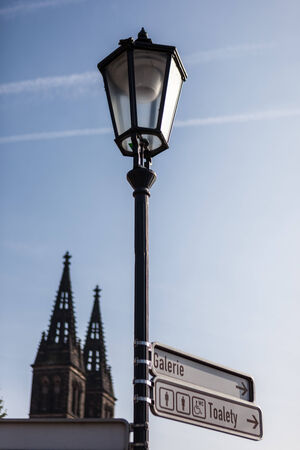 steeples: PRAGUE, CZECH REPUBLIC - MARCH 8th, 2014 - Street lamp with steeples of Basilica of St Peter and St Paul on Vysehrad in background