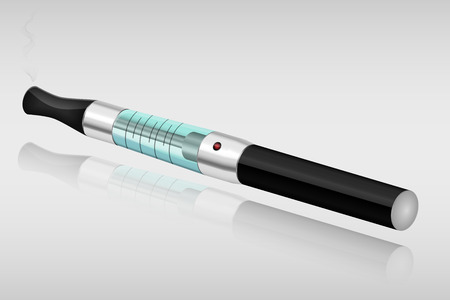 Electronic cigarette vector illustration with vapor and reflection
