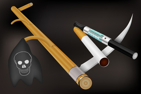 e cigarette: Smoking kills  Cigarettes on scythe of the Death Illustration