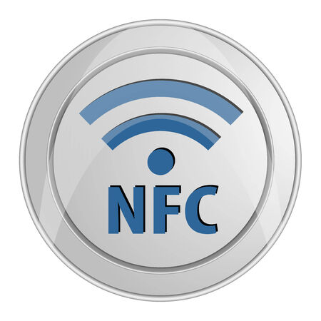 NFC Near-field communication icon button shiny metallic Vector