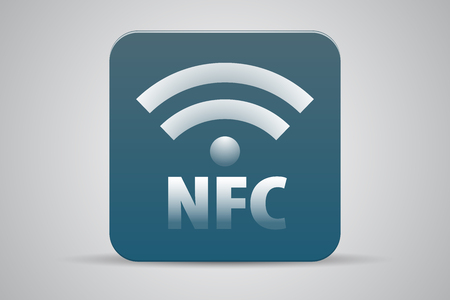 NFC Near-field communication icon button blue green Vector