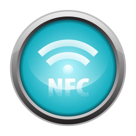 NFC Near-field communication metallic icon button blue