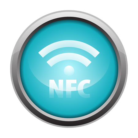 NFC Near-field communication metallic icon button blue  Vector