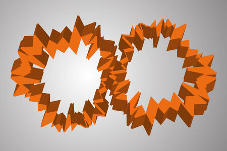 Abstract orange cogwheel like 3D circles on grey background Illustration