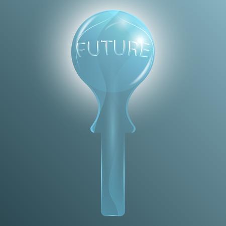 예측: 미래 예측을위한 추상 크리스탈 유리 공 일러스트