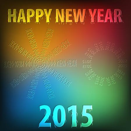 Novo ano de 2015 colorido cart Ilustra��o