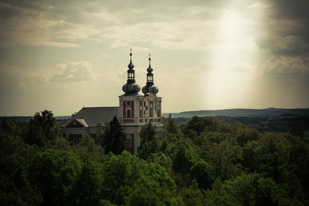 lightbeam: Christianity concept showing sun beam next to church