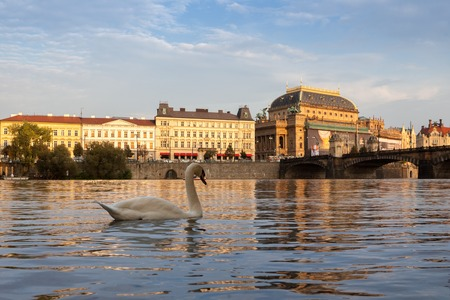 PRAGUE, CZECH REPUBLIC - 15th SEPTEMBER, 2014 - National Theater during partial reconstruction  viewed from Vltava river