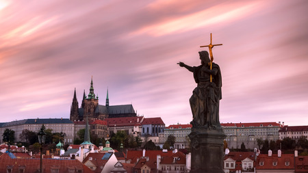 Prague Castle HDR picture during twilight with statue of John the Baptist in front, Czech Republic