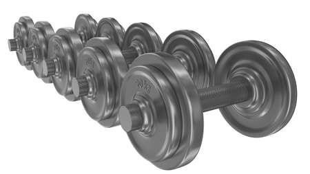 Series of dumbbells isolated on white photo