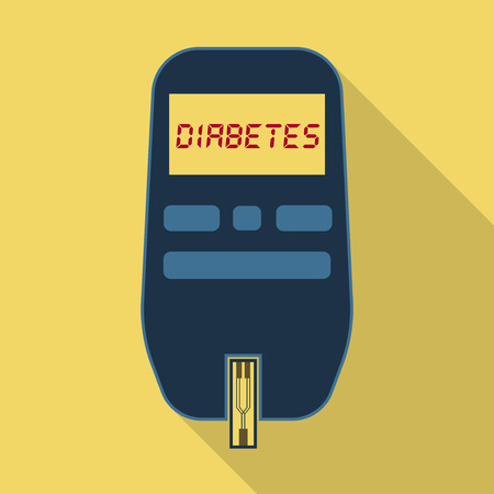 Glucometer for glucose and diabetes test flat icon with long shadow Vectores