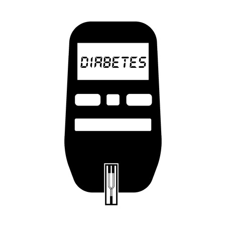 Glucometer for glucose and diabetes test black and white flat icon