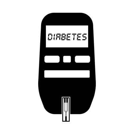 diabetes: Glucómetro para la glucosa y la prueba de diabetes en blanco y negro icono plana