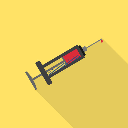 anesthesia: Syringe full of blood flat icon with long shadow Illustration