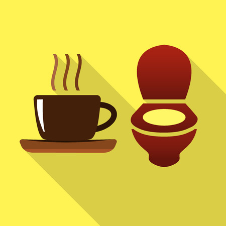 toilet bowl: Coffee cup and toilet bowl flat icon suggesting diuretic effect