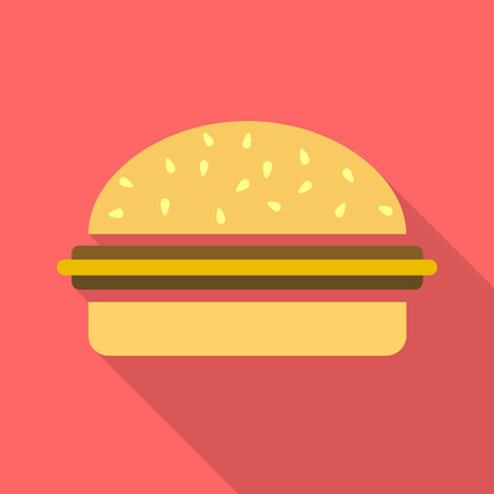 sesame seed: Hamburger or cheeseburger simple flat icon with long shadow