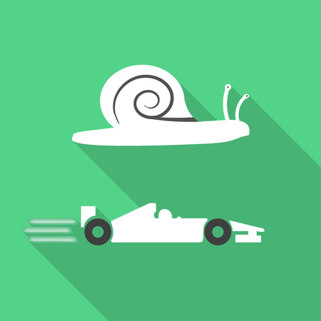 slow: Slow snail and fast formula car contrast green icon