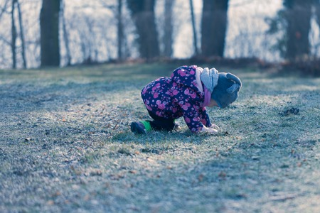 Little baby toddler fell down on knees during exploring outdoors world