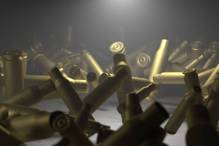 Empty bullet shells illuminated