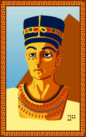 Statue of Egyptian Pharaoh. Vector illustration