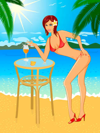 girl the brunette on beach in bikini. Vector illustration Illustration
