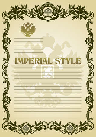 imperial style frame green vector paper