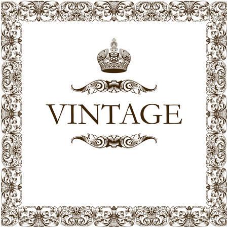 Vintage frame decor crown vector Vector