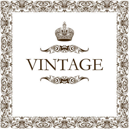 Vintage Rahmen Dekor Krone Vektor