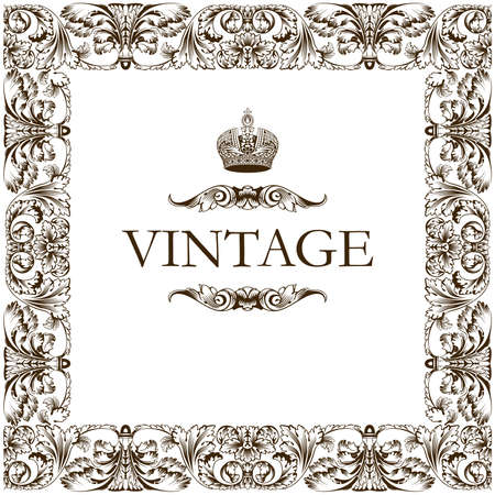Vintage frame decor ornament vector Vector