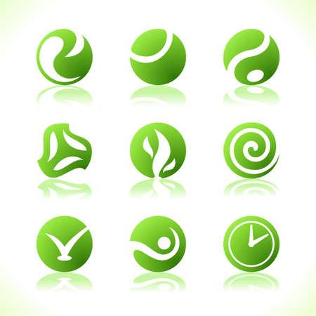 Zielone symbole oznakowanie ekologiczne. Ilustracji wektorowych