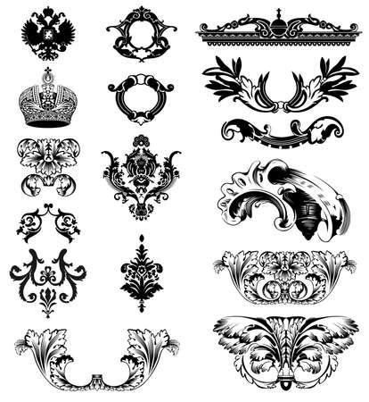 Elementy cesarskiej dekoracyjnego. Ilustracja wektora
