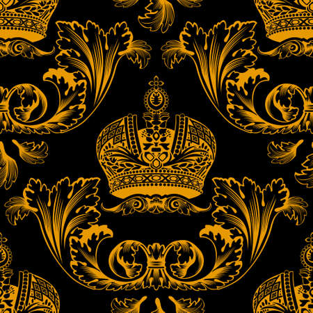 New seamless decor gold ornament black. Vector illustration Illustration