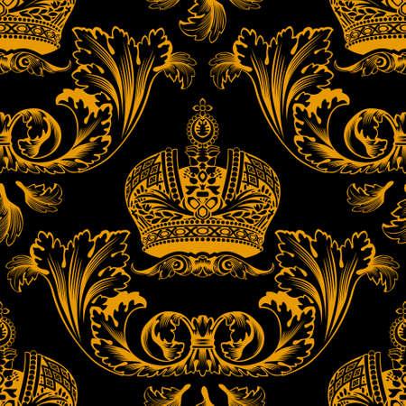 Nowy wystrój bezszwowych Złota ozdoba czarny. Ilustracji wektorowych  Ilustracja
