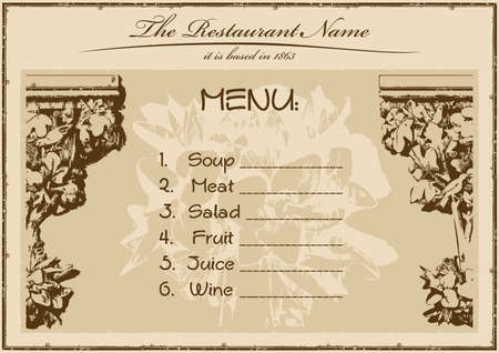 vintage menu restaurant horizontal. vector illustration