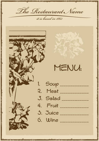vintage menu restaurant vertical. vector illustration Vector
